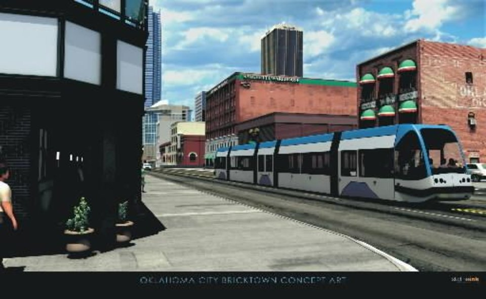 An artist's drawing shows what a downtown streetcar might look like. City officials plan to build up to eight miles of streetcar track as part of MAPS 3. But the work won't coincide with the Project 180 downtown street reconstruction. PROVIDED BY THE GREATER OKLAHOMA CITY CHAMBER