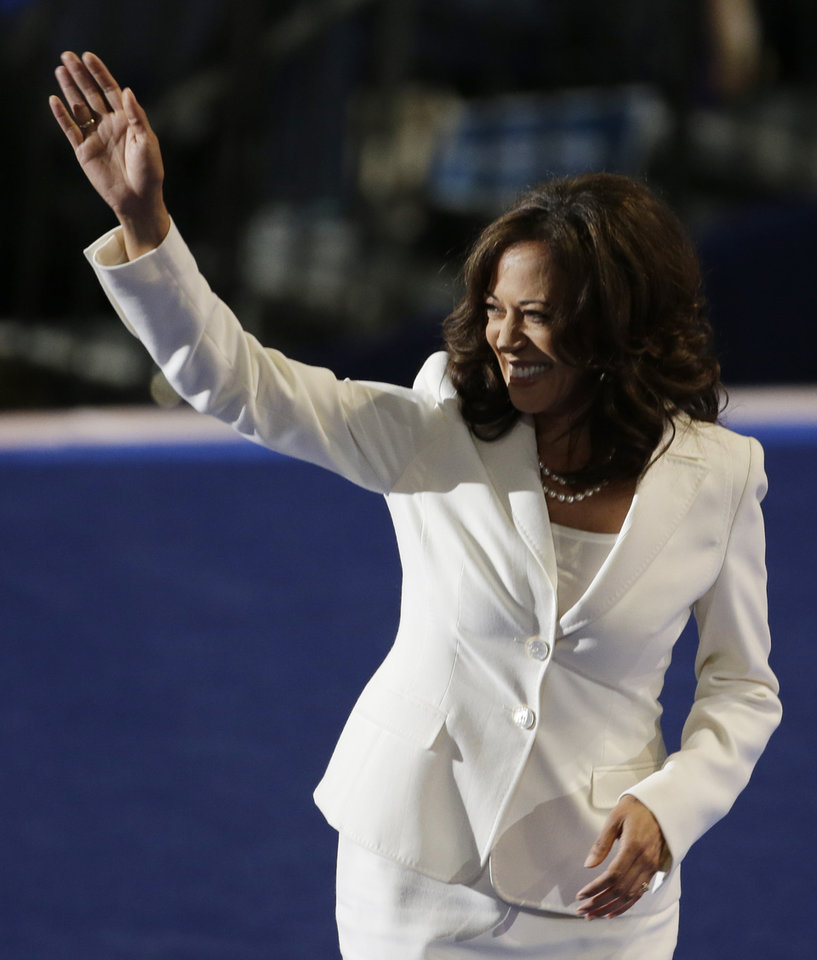 Photo - California Attorney General Kamala D. Harris waves to delegates after her speech at the Democratic National Convention in Charlotte, N.C., on Wednesday, Sept. 5, 2012. (AP Photo/Lynne Sladky)  ORG XMIT: DNC165
