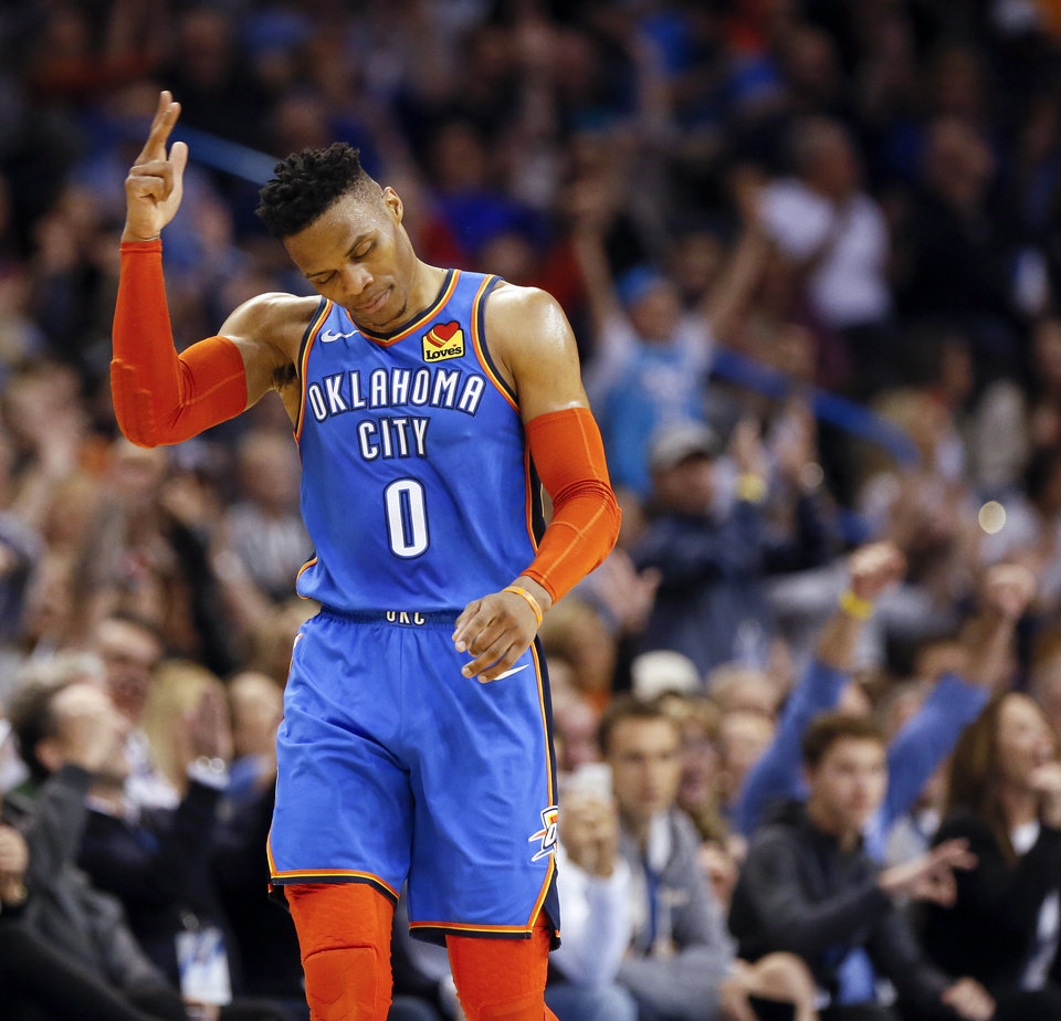 Photo - Oklahoma City's Russell Westbrook (0) reacts after making a three-point shot in the third quarter during an NBA basketball game between the Indiana Pacers and the Oklahoma City Thunder at Chesapeake Energy Arena in Oklahoma City, Wednesday, March 27, 2019. Oklahoma City won 107-99. Photo by Nate Billings, The Oklahoman