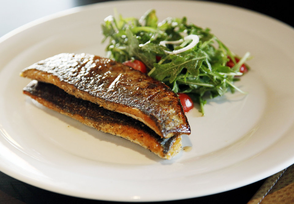Pan-seared branzino with shaved arugula salad at Flint, the new restaurant inside the Colcord Hotel,. <strong>NATE BILLINGS - THE OKLAHOMAN</strong>