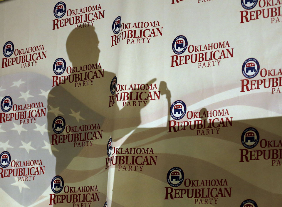 Oklahoma Lt. Gov. Todd Lamb's shadow is projected against a backdrop during the Oklahoma Republican watch party in Oklahoma City,  Tuesday, Nov. 6, 2012. Photo by Sarah Phipps, The Oklahoman