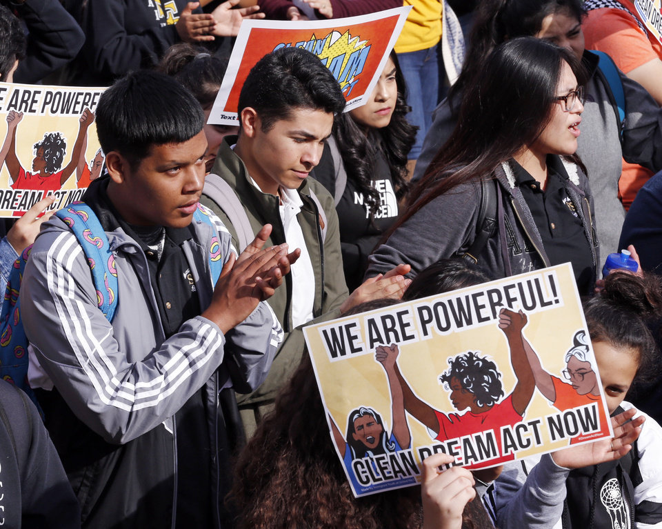 Photo -  Students at Santa Fe South High School, during a walkout and rally Thursday, call on Congress to pass a clean Dream Act. [Photo by Steve Sisney, The Oklahoman]