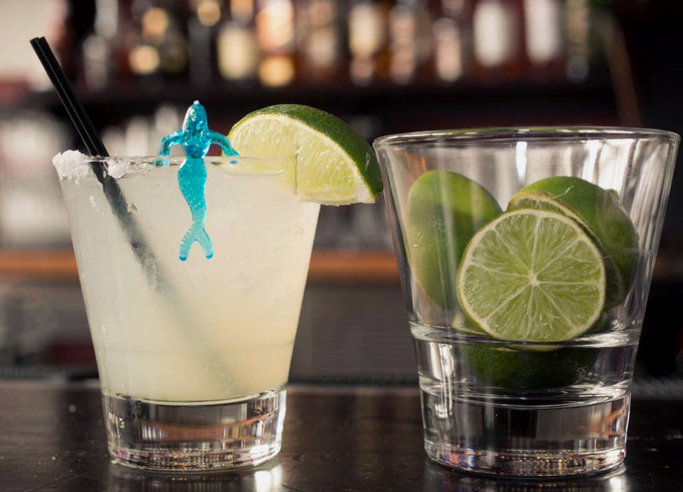 Photo -  A margarita cocktail is served at the bar of Luna Park restaurant in Los Angeles.     -  AP