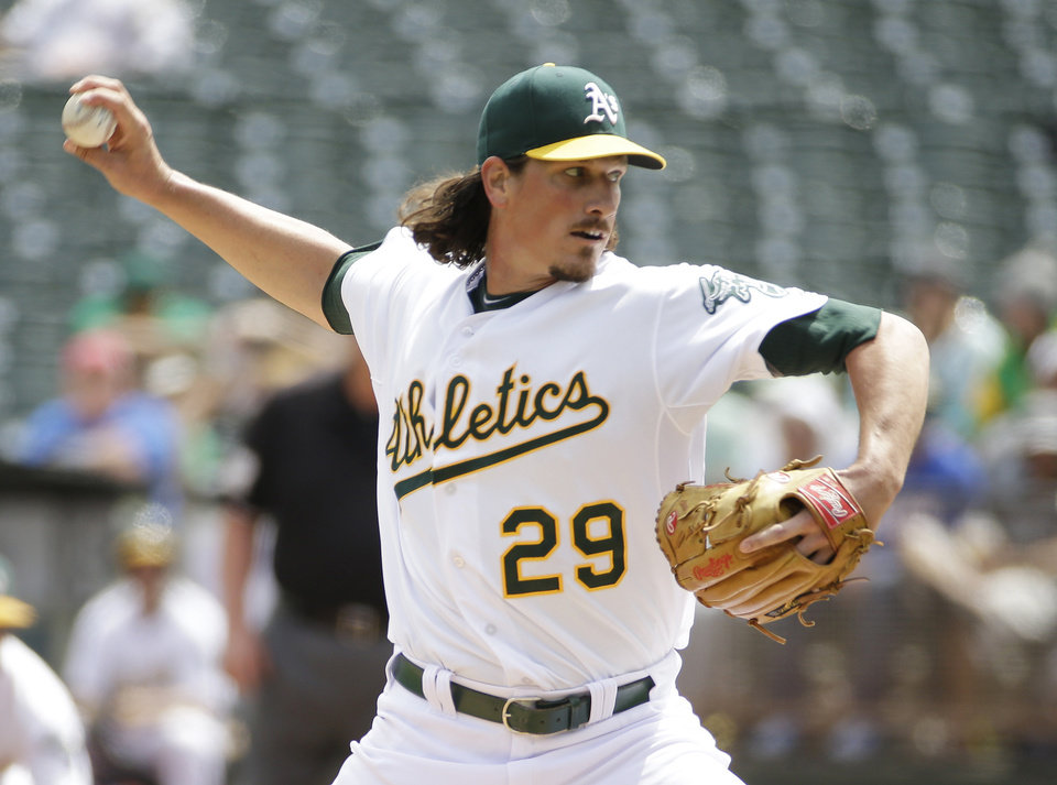 Photo - Oakland Athletics starting pitcher Jeff Samardzija throws in the first inning of their interleague baseball game against the New York Mets Wednesday, Aug. 20, 2014, in Oakland, Calif. (AP Photo/Eric Risberg)