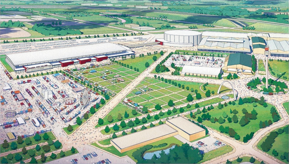 Photo - An artist's drawing shows a bird's-eye view of a planned expo hall at State Fair Park. MAPS 3 calls for replacing all fair buildings with a massive, connected hall that could host larger shows.