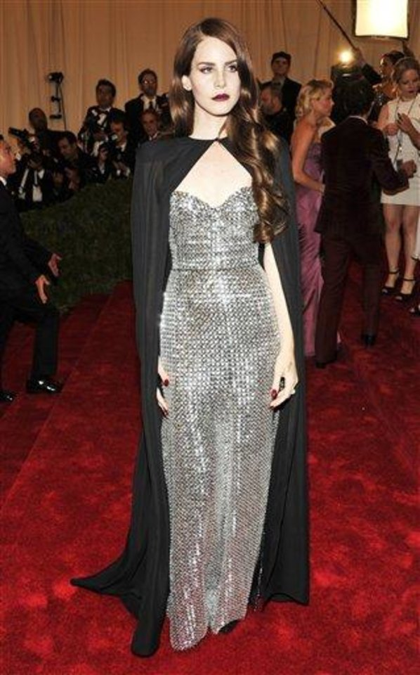 Photo - Lana Del Rey arrives at the Metropolitan Museum of Art Costume Institute gala benefit, celebrating Elsa Schiaparelli and Miuccia Prada, Monday, May 7, 2012 in New York. (AP Photo/Charles Sykes)