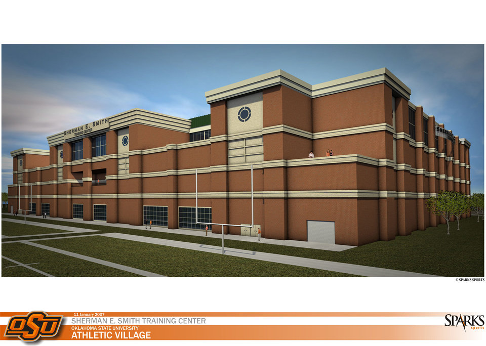 Photo - OKLAHOMA STATE UNIVERSITY ATHLETIC VILLAGE, OSU, RENDERING, INDOOR FACILITY: Sherman Smith Training Center     ORG XMIT: 0806132208491981