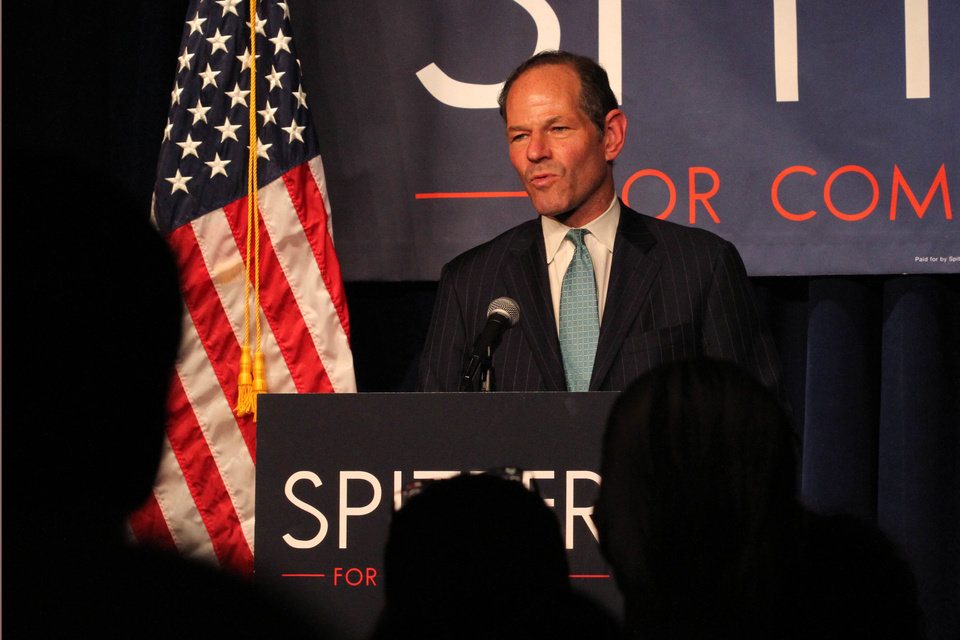 Photo - Former New York Governor Eliot Spitzer delivers his concession speech at his election night party after losing the Democratic primary race for New York City comptroller Tuesday Sept. 10, 2013 in New York.  (AP Photo/Tina Fineberg)