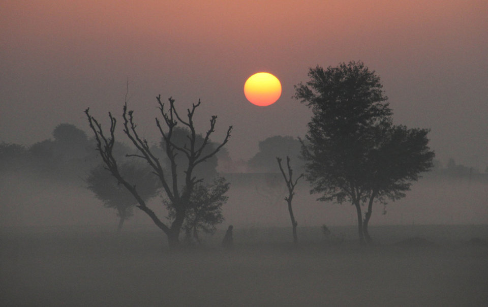 An Indian walks surrounded by fog as the sun rises in Ajmer, India, Tuesday, Jan. 1, 2013. North India continues to face extreme weather conditions with dense fog affecting flights and trains. (AP Photo/Deepak Sharma)