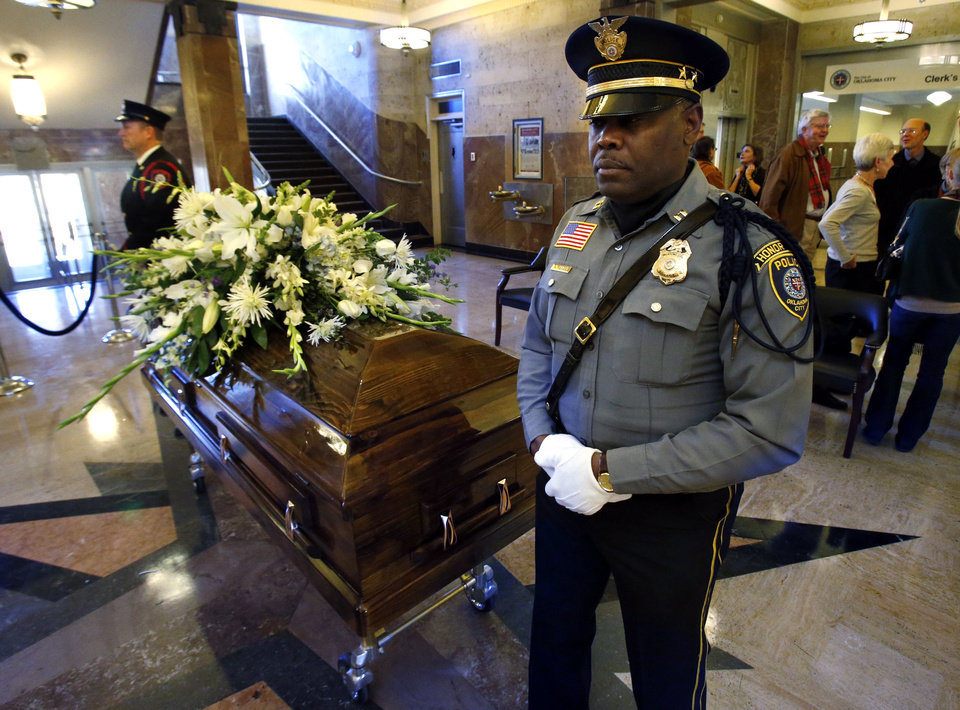 Photo - Fire Major David Shearer, left, and Police Capt. Nate Tarver stand Honor Guard watch as the body of former Oklahoma City Mayor Patience Latting lies in state at city hall on Thursday, Jan. 3, 2013  in Oklahoma City, Okla. Photo by Steve Sisney, The Oklahoman  STEVE SISNEY - THE OKLAHOMAN