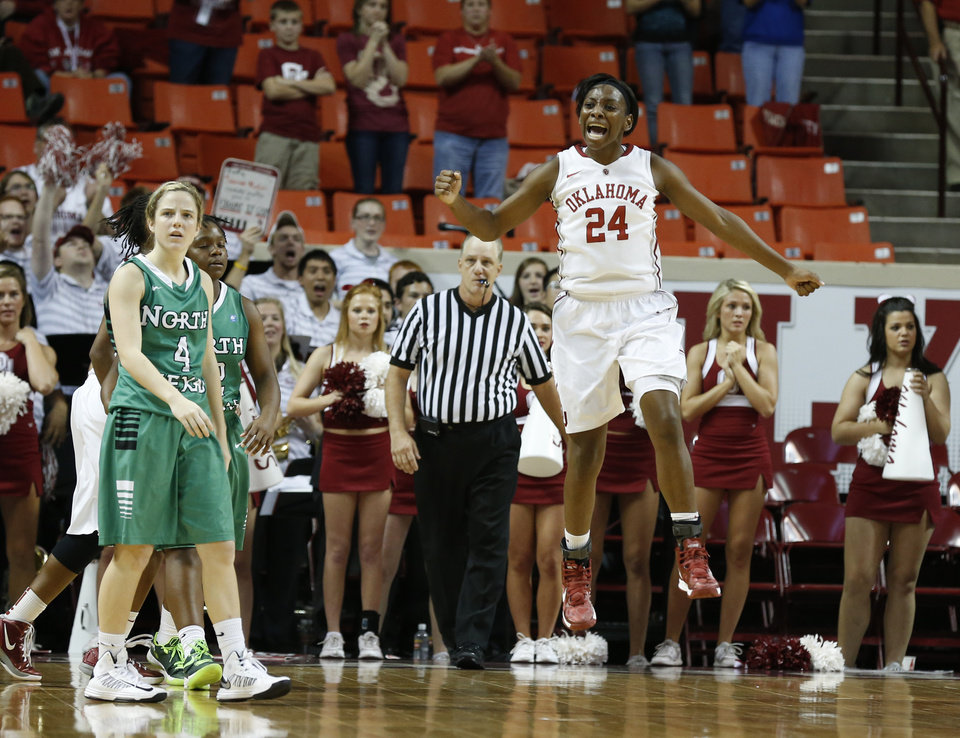 Photo - Oklahoma's Sharane Campbell (24) reacts to a call late in the second half as the University of Oklahoma Sooners (OU) play the North Texas Mean Green in NCAA, women's college basketball at The Lloyd Noble Center on Thursday, Dec. 6, 2012  in Norman, Okla. Photo by Steve Sisney, The Oklahoman