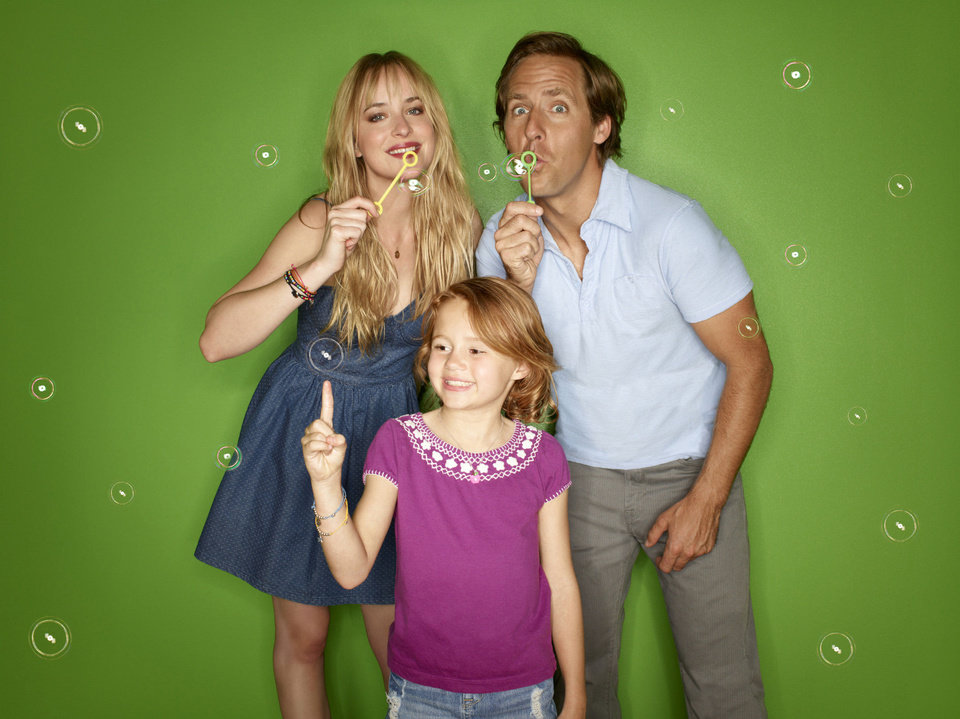 Odd-couple siblings Kate (Dakota Johnson) and Ben (Nat Faxon) - one, an overly responsible single mom; the other, an exuberant dreamer - push each other out of their comfort zones and into real life in the new comedy BEN AND KATE, premiering Sept. 25 on FOX. Also pictured is  Maggie Elizabeth Jones. Photo provided <strong></strong>
