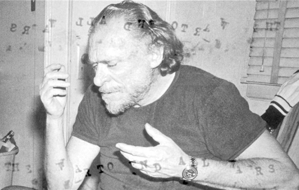 "Charles Bukowski re-enacts dancing in the moonlight with ""some broad he planted"" (unpictured)"