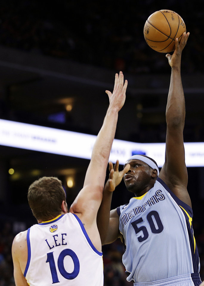 Memphis Grizzlies\' Zach Randolph (50) shoots over Golden State Warriors\' David Lee during the first half of an NBA basketball game, Wednesday, Jan. 9, 2013, in Oakland, Calif. (AP Photo/Ben Margot)