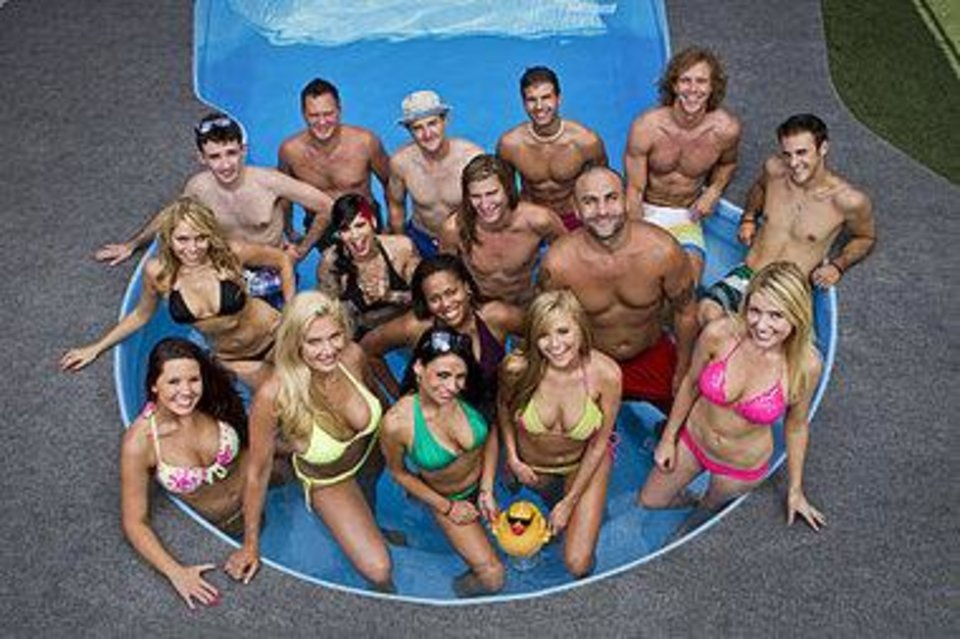 "Season 14 cast members pose in the ""Big Brother"" house swimming pool. Photo provided. <strong></strong>"
