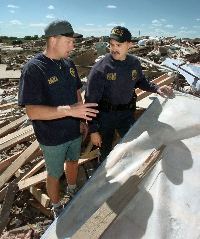 Tornado victims, damage: Oklahoma City Police Officers Jeff Locke and Tim Hock both lost houses in tornado. (this is Locke's house) Goes with Robert Medley's story.