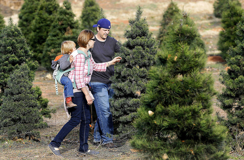 Chad and Joy Barnes, of Oklahoma City, with their son, Evan, 3, and daughter, Adelyn, 17 months, search for a Christmas tree at Sorghum Mill Christmas Tree and Blackberry Farm on N Midwest Boulevard, north of Coffee Creek.