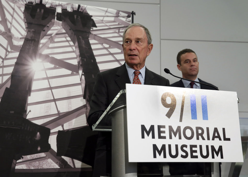 Photo - Former New York Mayor Michael Bloomberg, left, Chairman of the Sept. 11 Museum, with museum President Joe Daniels, addresses a news conference in the venue, in New York, Wednesday, May 14, 2014. Leaders of the soon-to-open Sept. 11 museum are portraying it as a monument to unity and resilience. (AP Photo)
