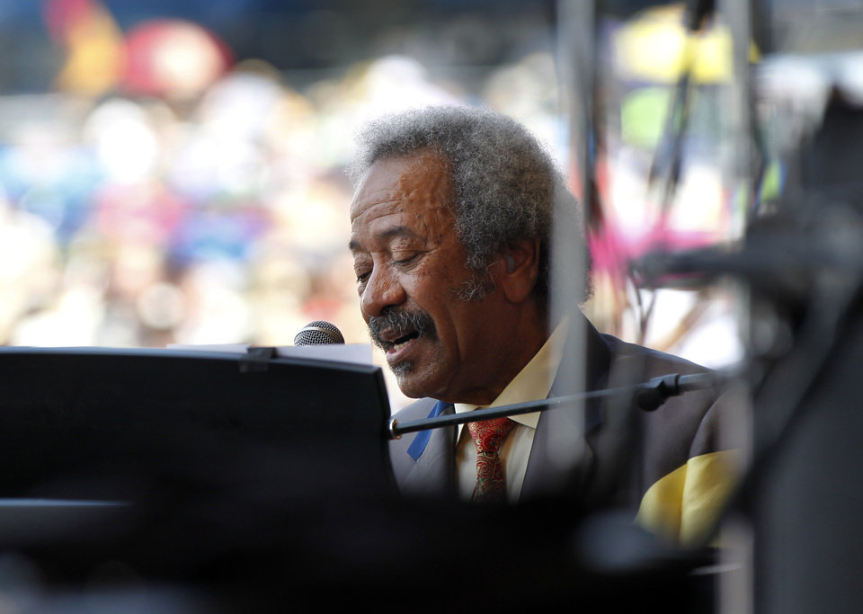 Photo -   Allen Toussaint performs at the New Orleans Jazz and Heritage Festival in New Orleans, Saturday, May 5, 2012. (AP Photo/Gerald Herbert)