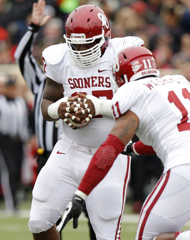 Oklahoma\'s Jamarkus McFarland (97) intercepts a pass during a college football game between the University of Oklahoma (OU) and Texas Tech University at Jones AT&T Stadium in Lubbock, Texas, Saturday, Oct. 6, 2012. Oklahoma won 41-20. Photo by Bryan Terry, The Oklahoman