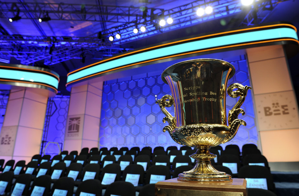 Photo - The championship trophy awaits a winner of the 2015 Scripps National Spelling Bee, as the Bee begins in Oxon Hill, Md., Wednesday, May 27, 2015. (AP Photo/Cliff Owen)