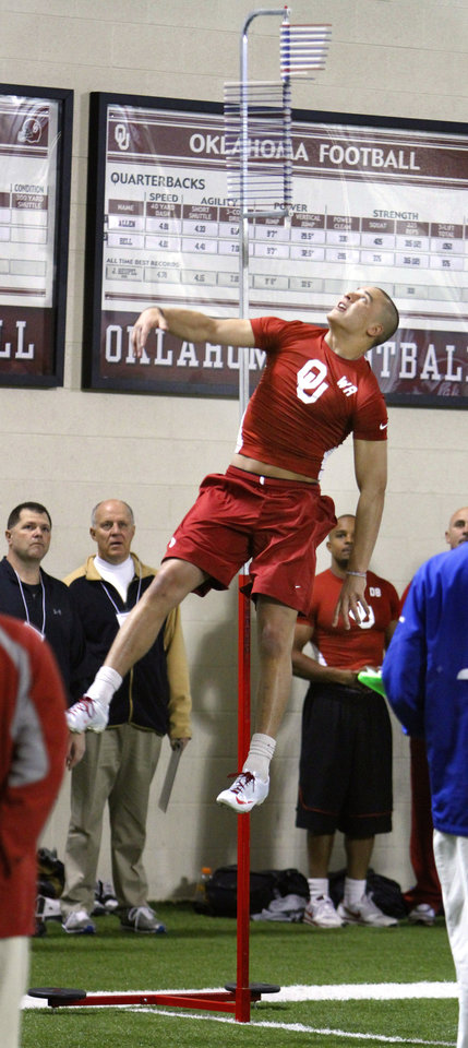 Photo - Brandon Caleb tied with Cameron Kenney (pictured) for highest verticle leap with 35.5 inches during the University of Oklahoma pro timing day on Tuesday, March 8, 2011, in Norman, Okla. Photo by Steve Sisney, The Oklahoman