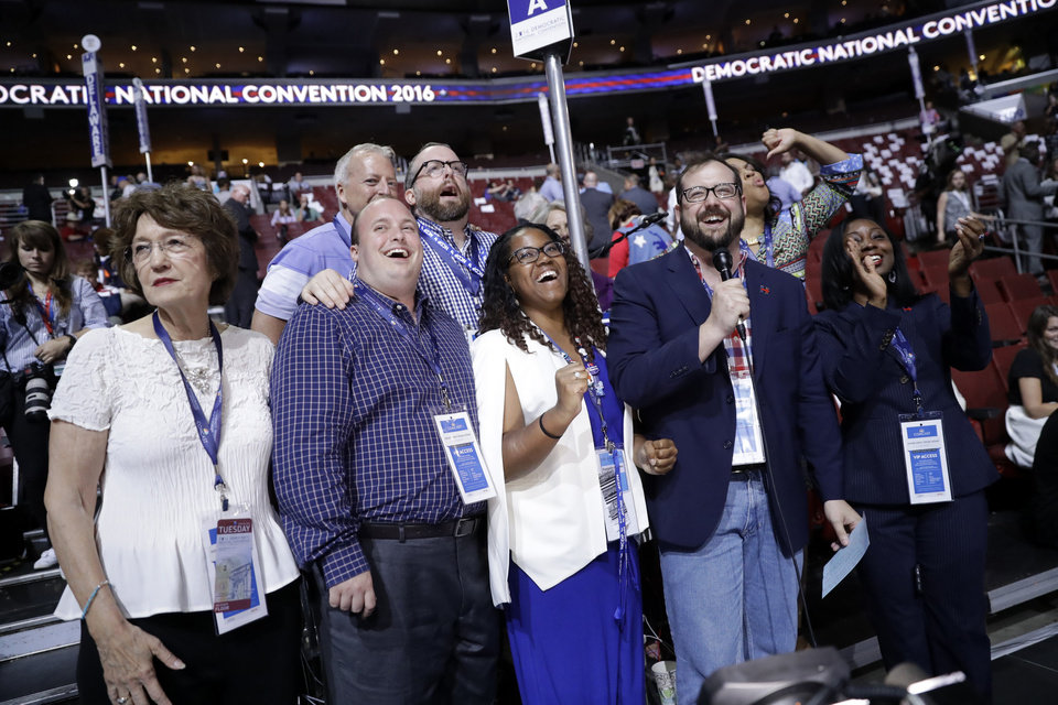 Photo - North Carolina delegates pose for picture at their post before the start of the second day session of the Democratic National Convention in Philadelphia, Tuesday, July 26, 2016. (AP Photo/Matt Rourke)