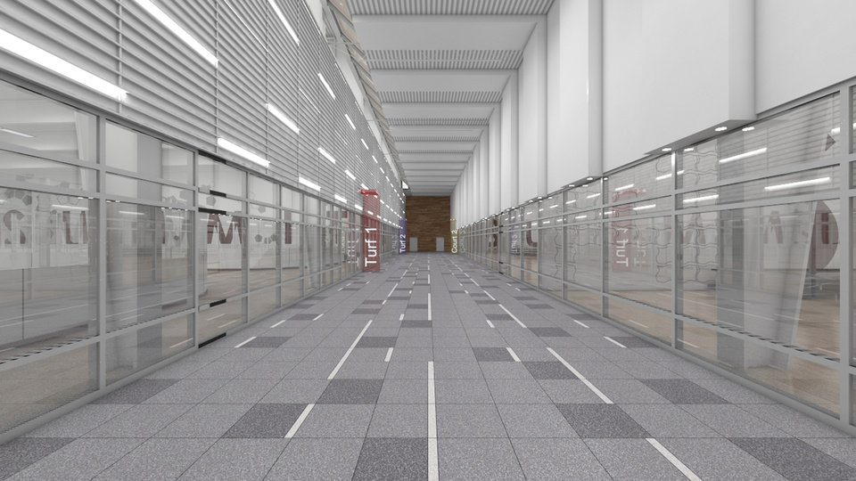 An artist rendering of a corridor at Summit Sports Complex which will be at I-35 and Covell in Edmond, Okla., with a planned opening of the summer of 2015. .