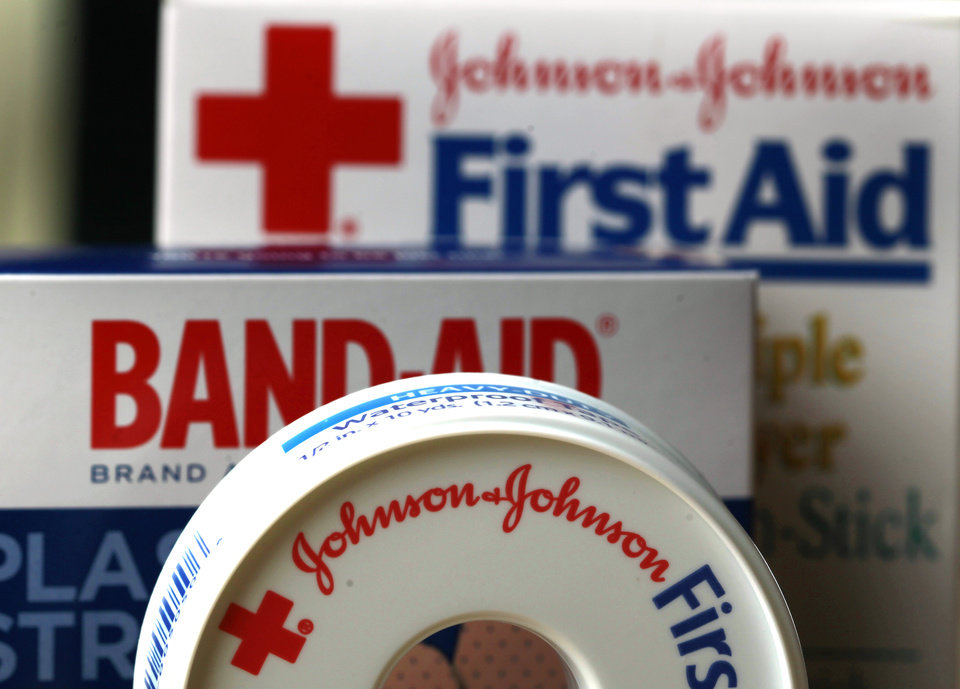 FILE - In this Monday, July 16, 2012, photo,  Johnson & Johnson products are displayed in Orlando, Fla. Higher sales helped Johnson & Johnson post a much bigger fourth-quarter profit than a year ago, when a slew of charges depressed results. The New Brunswick, N.J., company said Tuesday, Jan. 22, 2012, that net income was $2.57 billion, or 91 cents per share, up from $218 million, or 8 cents per share, in 2011's fourth quarter. (AP Photo/John Raoux, File)