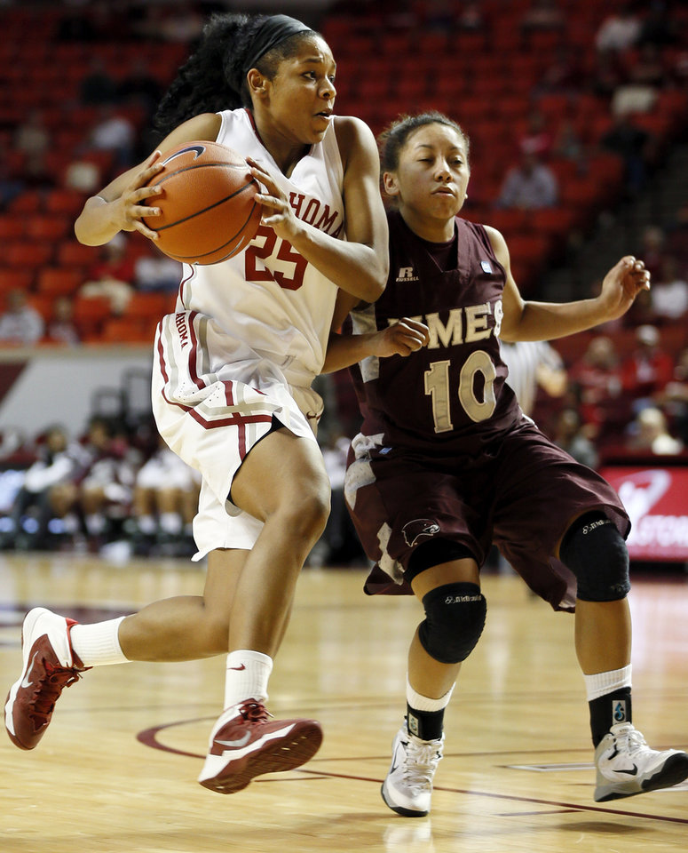 Oklahoma's Gioya Carter (25) takes the ball past Maryland Eastern Shore's Chalyse Taylor (10) during a women's college basketball game between the Oklahoma Sooners and the Maryland Eastern Shore Lady Hawks at Lloyd Noble Center in Norman, Okla., Sunday, Dec. 15, 2013. OU won, 105-46. Photo by Nate Billings, The Oklahoman