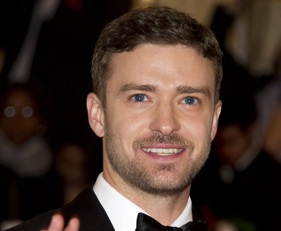 Photo - FILE - This May 7, 2012 file photo shows singer-actor Justin Timberlake at the Metropolitan Museum of Art Costume Institute gala benefit in New York.   (AP Photo/Charles Sykes, file)