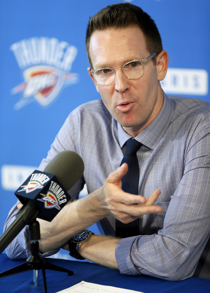Photo - Thunder general manager Sam Presti spoke to the media at the Integris Health Thunder Development Center on Wednesday. Photo by Nate Billings, The Oklahoman