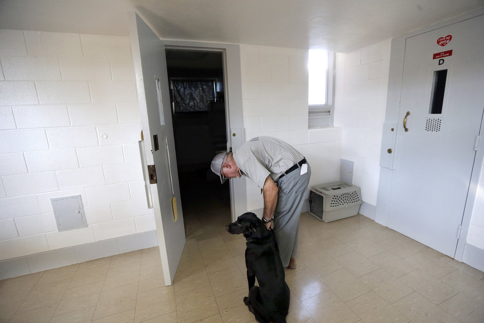 Dillard waits to enter a prison cell as Inmate Steve Griffith unlatches his collar at the Lexington Assessment and Reception Center, Friday, July 11,  2013, in Lexington, Okla. Dillard was rescued after the May tornado.Photo by Sarah Phipps, The Oklahoman