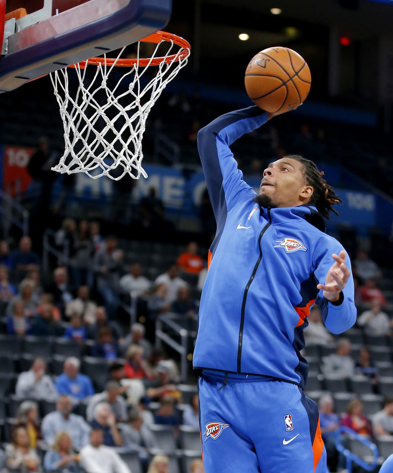 Photo - Oklahoma City's DeVaughn Akoon-Purcell dunks before an NBA preseason basketball game between the Oklahoma City Thunder and the Memphis Grizzlies at Chesapeake Energy Arena in Oklahoma City, Wednesday, Oct. 16, 2019. [Bryan Terry/The Oklahoman]