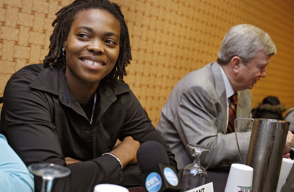 Photo - WOMEN'S COLLEGE BASKETBALL: Texas A&M University's Danielle Gant talks to the press during the Big 12 Women's Basketball Media Day at the Cox Convention Center on Wednesday, Oct. 22, 2008, in Oklahoma City, Okla.  BY CHRIS LANDSBERGER, THE OKLAHOMAN  ORG XMIT: KOD