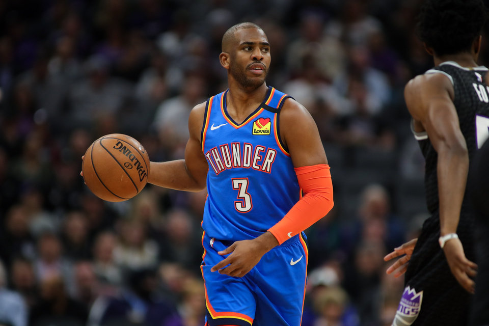 Photo - Jan 29, 2020; Sacramento, California, USA; Oklahoma City Thunder guard Chris Paul (3) dribbles the ball during the first quarter against the Sacramento Kings at Golden 1 Center. Mandatory Credit: Sergio Estrada-USA TODAY Sports