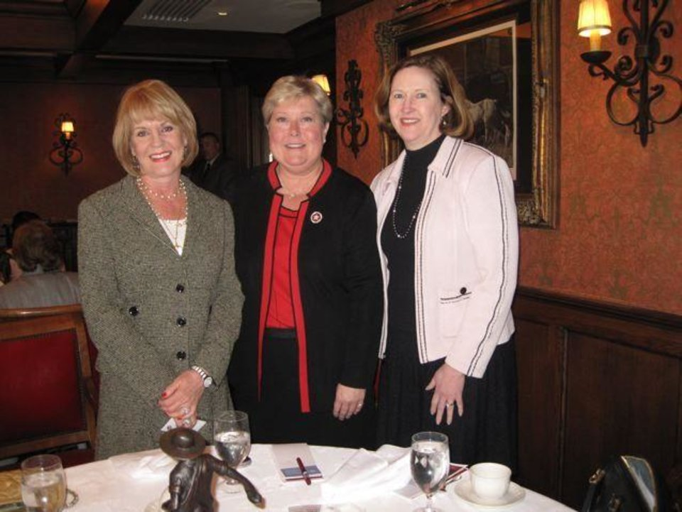 WOMEN IN PHILANTHOPHY....Lori Hill, Lt. Gov. Jari Askins, Cynda  Ottaway were seated together for the OU Women's Philanthrophy Network  event. (Photo by Helen Ford Wallace.)