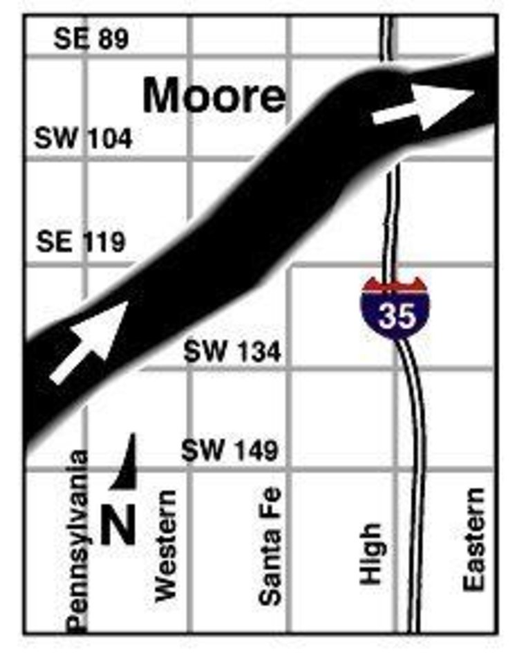 MAY 3, 1999 TORNADO: Tornado's Path: Moore map