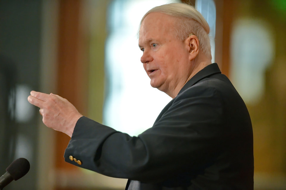 Photo - REMOVES REFERENCE TO COLLECTION DONATED - Author Pat Conroy speaks to a crowd during a ceremony Friday, May 16, 2014 at the Hollings Library in Columbia, S.C. in which Conroy announced that his collection of handwritten manuscripts, personal papers and family memorabilia will go to the University of South Carolina. Because the 68-year-old author does not use a typewriter or computer, the collection includes 10,000 handwritten pages of all his varied drafts, from early work
