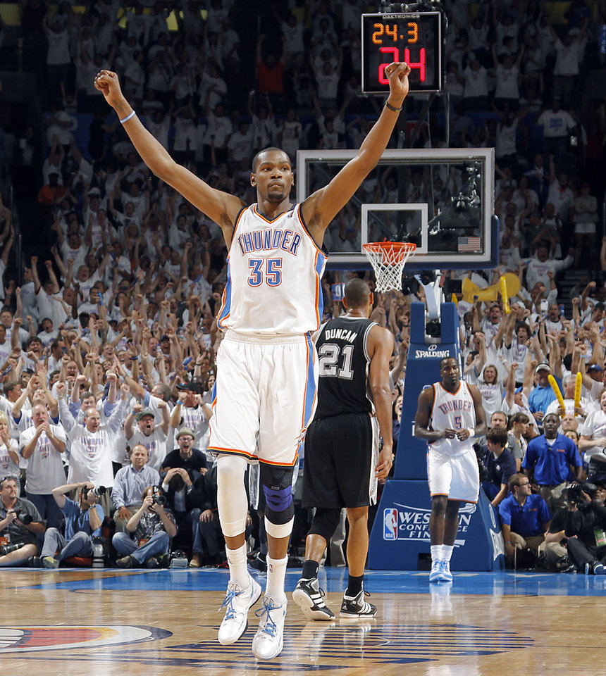 Oklahoma City\'s Kevin Durant (35) reacts in the final seconds of the 107-99 win over the Spurs during Game 6 of the Western Conference Finals between the Oklahoma City Thunder and the San Antonio Spurs in the NBA playoffs at the Chesapeake Energy Arena in Oklahoma City, Wednesday, June 6, 2012. Photo by Chris Landsberger, The Oklahoman