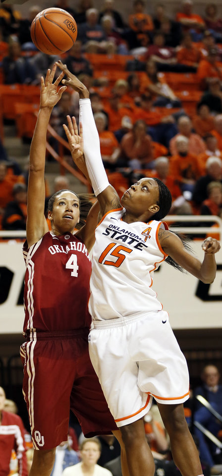 Oklahoma\'s Nicole Griffin (4) shoots against Oklahoma State\'s Toni Young (15) during the Bedlam women\'s college basketball game between Oklahoma State University and the University of Oklahoma at Gallagher-Iba Arena in Stillwater, Okla., Saturday, Feb. 23, 2013. OSU beat OU, 83-62. Photo by Nate Billings, The Oklahoman