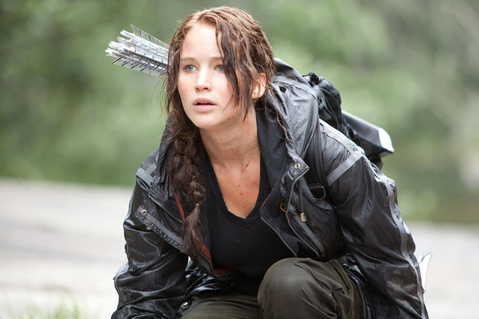 "Jennifer Lawrence as Katniss Everdeen, the District 12 ""tribute"" and bow-and-arrow expert in ""The Hunger Games."" PHOTO PROVIDED. <strong></strong>"