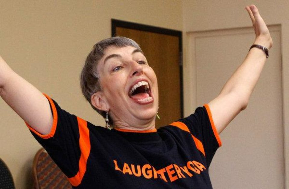 Photo - Certified laughter yoga instructor Ellen Mercer. Photo by Jim Beckel, The Oklahoman  JIM BECKEL