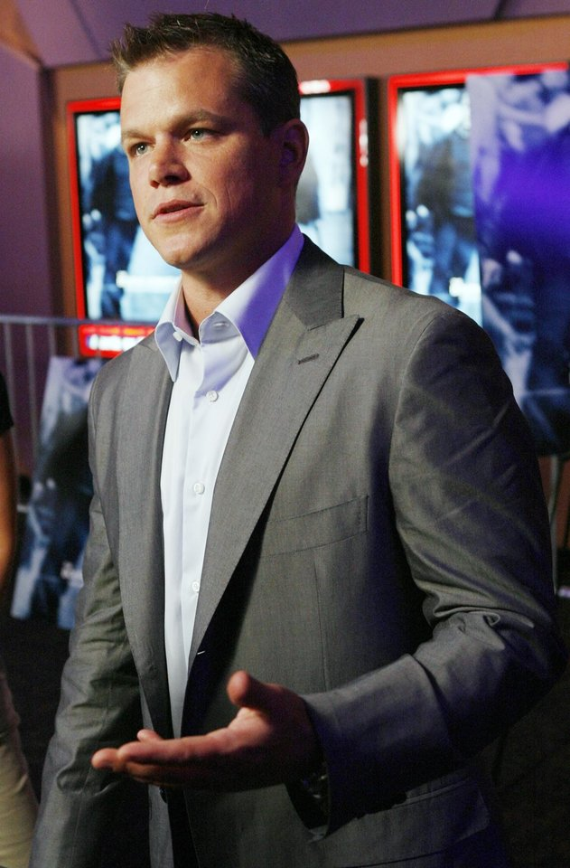 "Actor Matt Damon gives an interview before the Oklahoma City premiere of ""The Bourne Ultimatum""  at the Harkins Bricktown Theaters in Oklahoma City, Tuesday, July 31, 2007. Damon and producer Frank Marshall brought the film to benefit The Children's Center. By Nate Billings, The Oklahoman"
