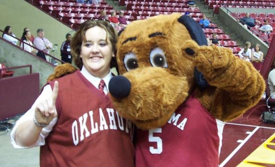 Photo -  Bekah Hightower, right, spent the 2003-04 season as OU's Top Daug mascot. [PHOTO PROVIDED]