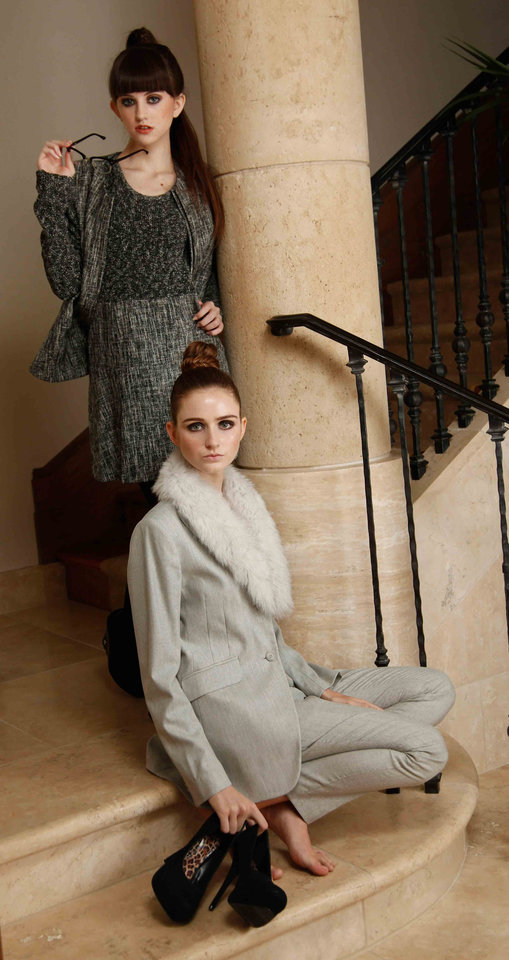 Photo - Gray pantsuit with removable faux fur collar and textured dress with matching jacket. Both are by Theory and available at CK & Co.  Makeup by L.J. Hill. Hair by Dianne Truong, Trichology Salon. Photo by Doug Hoke, The Oklahoman