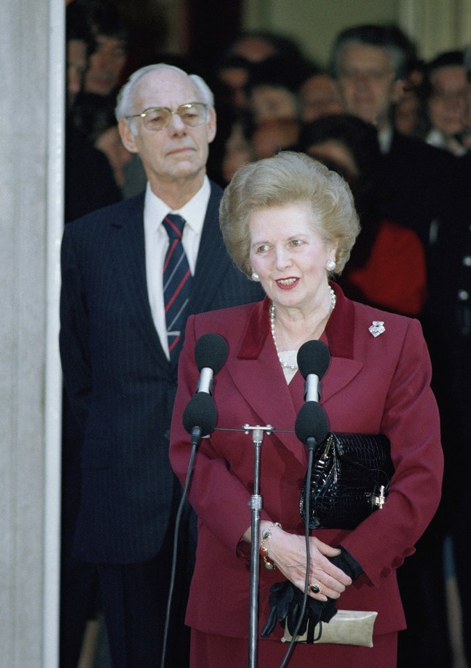 FILE This Wednesday, Nov. 28, 1990 file photo shows Margaret Thatcher making a statement to reporters as she leaves No. 10 Downing Street, Westminster on for Buckingham Palace where she will resign as Prime Minister to Queen Elizabeth II. It seems a strange sight: The president of the United States, sometimes called the most powerful person in the world, breaking down in tears thanking campaign workers for their tireless _ and ultimately successful _ work on his behalf. But Barack Obama isn't the only world leader unashamed or unable to avoid being seen crying in public. The enduring image of Margaret Thatcher's departure from office is the tearful face captured by photographers in 1990 as she left the prime minister's official residence at 10 Downing Street for the last time after 11 years as prime minister.(AP Photo/Martin Cleaver)