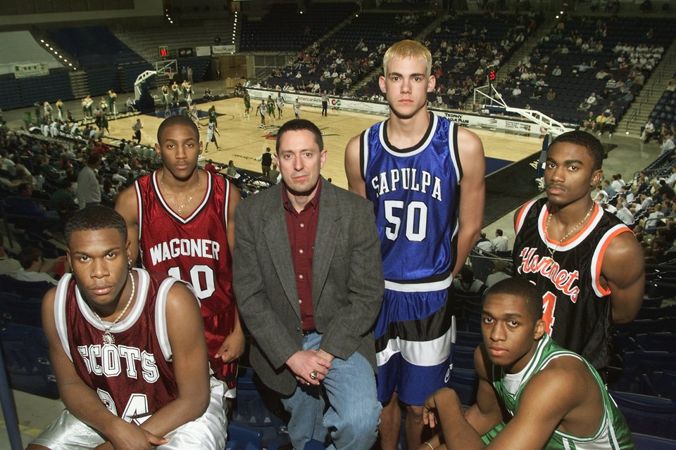 Photo - The Oklahoman's High school basketball Super Five. Ebi Ere, Tulsa McLain; Dante Swanson, Wagoner; Coach of the Year; Bob Weckstein, Frontier; Brian Cardwell, Sapulpa; Antonio Reed, Tulsa Washington; Terrence Crawford, Bishop McGuinness.