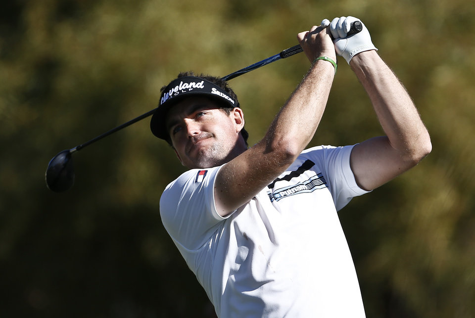 Keegan Bradley tees off at the fifth hole during the second round of the Waste Management Phoenix Open golf tournament on Friday, Feb. 1, 2013, in Scottsdale, Ariz.(AP Photo/Ross D. Franklin)