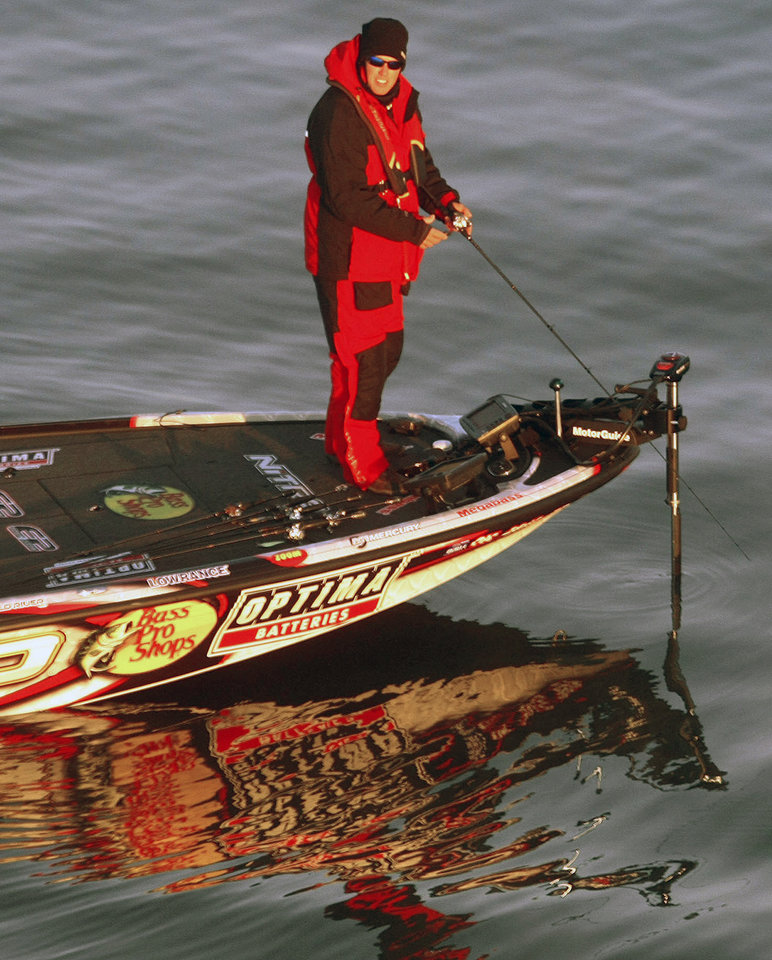 Edwin Evers fishes during the Bassmaster Classic on Grand Lake on Saturday, Feb. 23, 2013, in Tulsa.  PHOTO BY TOM GILBERT, TULSA WORLD